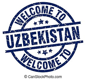 welcome to Uzbekistan blue stamp