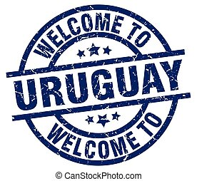 welcome to Uruguay blue stamp