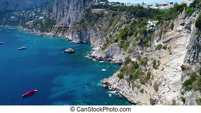 aerial view of Capri Island in sothern Italy