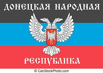 The Donetsk People s Republic flag with text in Russian,...