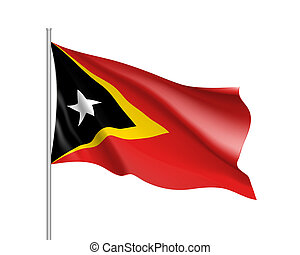 National flag of East Timor. - Waving flag of East Timor....