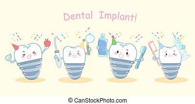 cute cartoon dental implants