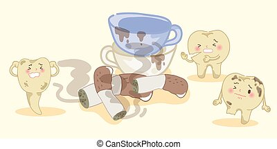 cartoon yellow tooth with smoke and coffee