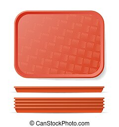 Red Plastic Tray Salver Vector. Classic Rectangular Red...