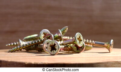 screws on rotating plate - Metallic screws with gold color...