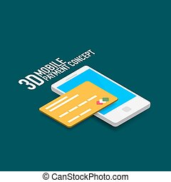 Vector mobile internet payment concept with smart phone