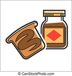 Chocolate paste in jar - Vector illustration of chocolate...