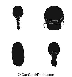 Light braid, fish tail and other types of hairstyles. Back...
