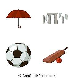 Umbrella, stone, ball, cricket .England country set...