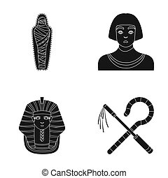 Crook and flail,a golden mask, an egyptian, a mummy in a tomb.Ancient Egypt set collection icons in black style raster,bitmap symbol stock illustration web.
