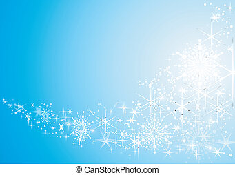 Abstract festive background with shiny stars and snow flakes...