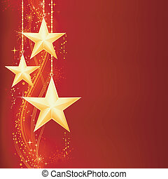 Festive red golden Christmas background with golden stars, snow flakes and grunge elements.