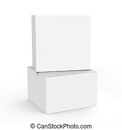 blank boxes design - two 3d rendering closed white blank...