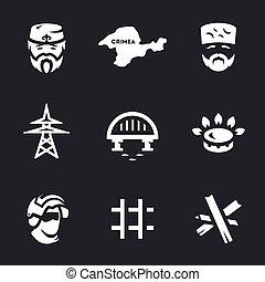 Vector Set of Crimea Blockade Icons. - Tatar, peninsula,...