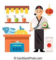 Vector Sushi Chef. Flat style colorful Cartoon illustration....