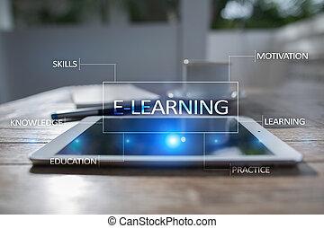 conceito, tela,  virtual,  Internet, e-aprendendo, Educação