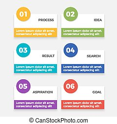 Infographic elements with steps process, idea and result, search aspiration