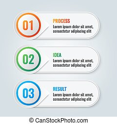Infographic scheme with three main steps process, idea and result