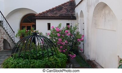 Historic courtyard. Historic house with beautiful flowers...