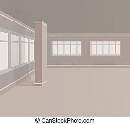 Empty room with columns and large windows. Vector illustration.