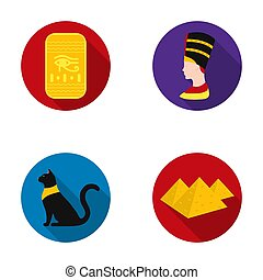 Eye of Horus, black Egyptian cat, pyramids, head of Nefertiti.Ancient Egypt set collection icons in flat style raster,bitmap symbol stock illustration web.