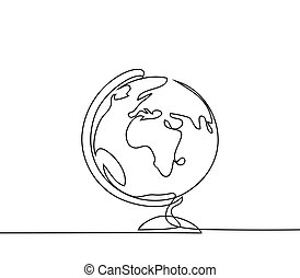School globe of earth. Continuous line drawing. Vector...