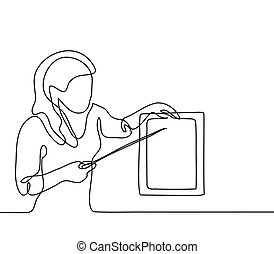 Teacher with pointer and table sheet. Continuous line...