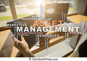 Asset management on the virtual screen. Business concept....