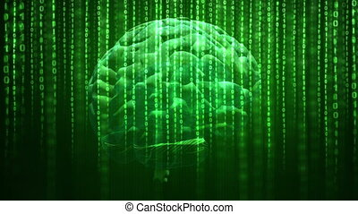 Artificial intelligence concept - Digital brain rotating...
