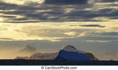 Beautiful view of icebergs in Antarctica, global warming and...