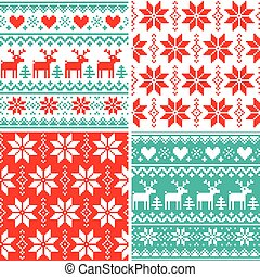 Winter pattern set, Christmas seamless design collection, ugly Xmas jumper style