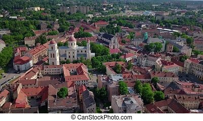 Vilnius old town video - Vilnius old town aerial view from...