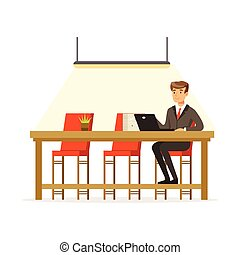 Businessman working with laptop in the open space office vector Illustration