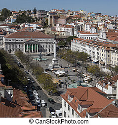 Rossio and the National Theater - Lisbon - Portugal - Rossio...