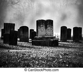 Misty graveyard - Very old misty and creepy graveyard in...