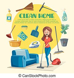 House or room cleaning vector poster - Home cleaning poster...