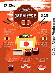 Vector poster for sushi bar or Japanese restaurant -...