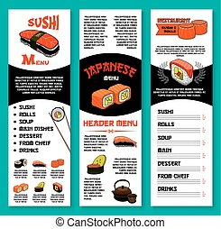Sushi bar vector menu template of Japanese dishes - Sushi...