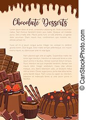 Vector poster of chocolate desserts bakery - Chocolate...