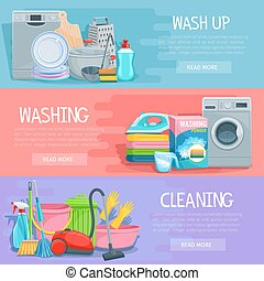 Vector banners for home cleaning and washing - Home...