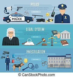 Vector banners of police and legal system judge - Police,...
