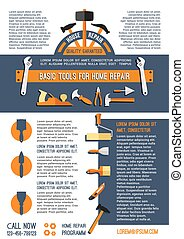 Vector home repair and painting work tools poster - Home...