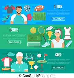 Vector banners for rugby, tennis and golf sport