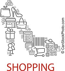 Shopping retail selling vector poster - Shopping poster of...