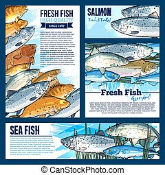 Vector posters or banners for fresh fish market - Fresh fish...
