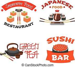 Vector isolated icons for sushi bar or restaurant - Japanese...