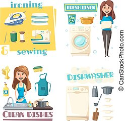 Vector home cleaning and washing, woman ironing