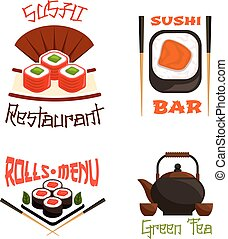 Vector icons for sushi bar or Japanese restaurant - Sushi...