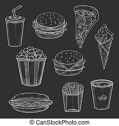 Fast food meals vecor icons set of chalk sketch