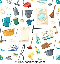 Vector seamless pattern of home cleaning items - Home...